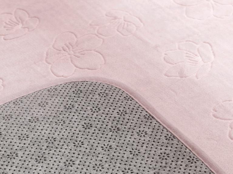 Floral Sıcak Baskı Kaydırmaz Taban Banyo Paspası Seti 50x80 - 45x50 Cm Lila