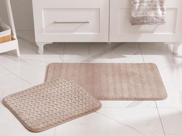 Nature Flanel Jakarlı Banyo Paspası Seti 50x80 - 45x50 Cm Taş Rengi