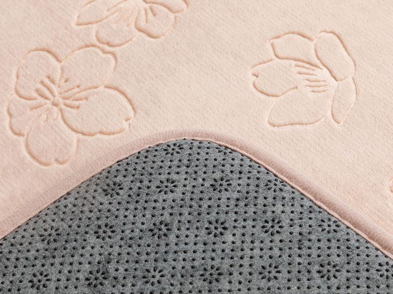 Floral Sıcak Baskı Kaydırmaz Taban Banyo Paspası Seti 50x80 - 45x50 Cm Pudra