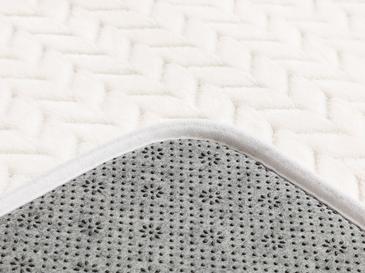 Nature Flanel Jakarlı Banyo Paspası Seti 50x80 - 45x50 Cm Beyaz