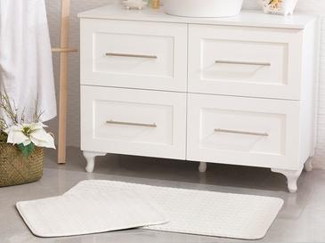 Nature Flanel Jakarlı Banyo Paspası Seti 60x100 Cm + 60x50 Cm Beyaz