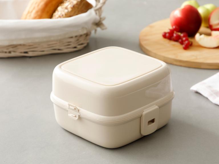 Rita Plastik 4 Bölmeli Lunch Box 13,0x13,0x9,5 Cm Bej