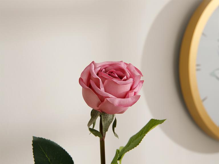 Corsage Kumaş Tek Dal Yapay Çiçek 44 Cm Koyu Pembe