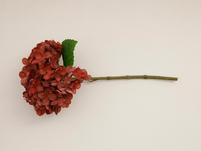 Hydrangea Kumaş Tek Dal Yapay Çiçek 33 Cm Bordo