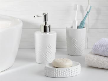 Retro Dots Seramik Banyo Seti 7x7x10 Cm Beyaz