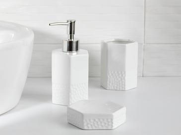 White Blossom Seramik Banyo Seti 7x7x10 Cm Beyaz