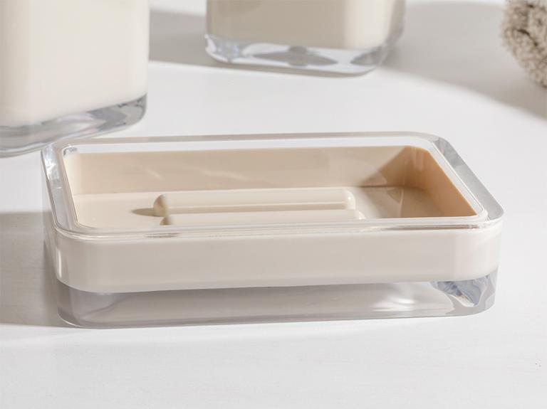 Elegance Kristal 3'lü Banyo Seti 17,5x6,5x6,5 Cm+9x6,5x6,5 Cm+1 Bej