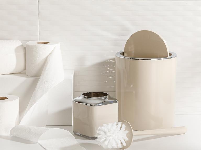 Elegance Kristal 2'li Banyo Takımı 19x21,5 Cm+10x10x37 Cm Bej