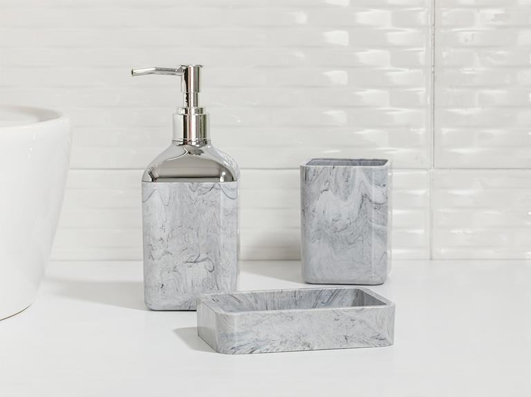 Marble Kristal 3'lü Banyo Seti 17,5x6,5x6,5 Cm+9x6,5x6,5 Cm+1 Gri