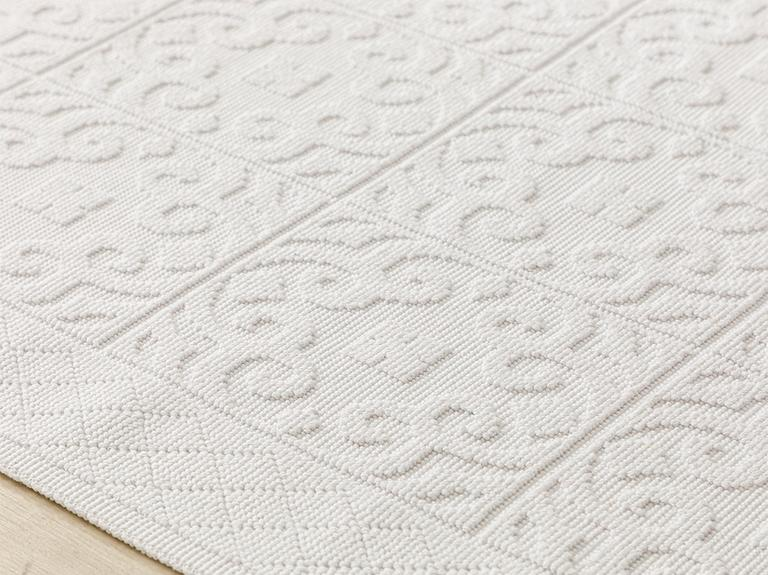 Bukle Pamuklu Kilim 80x150 Cm Beyaz