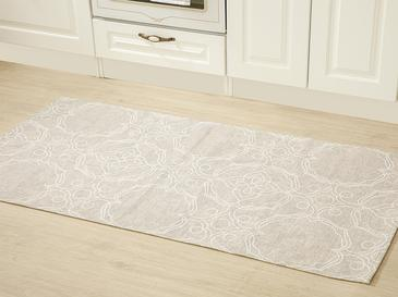 Big Damask Pamuk Polyester Halı 80x150 Cm Açık Bej