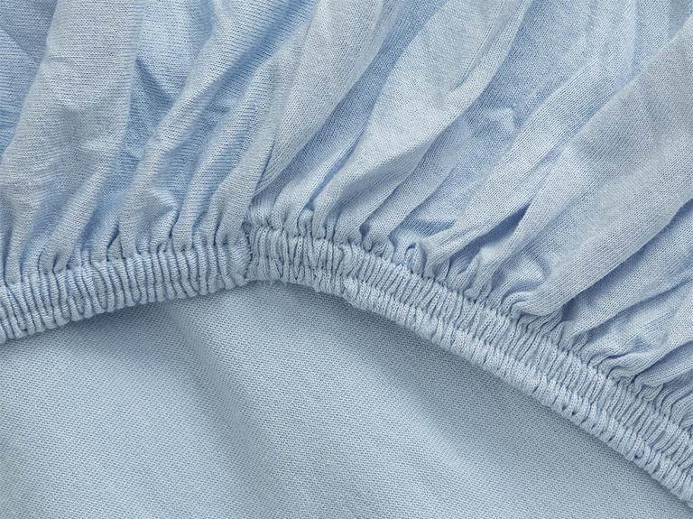 Düz Penye Çift Kişilik Lastikli Çarşaf Takımı 160x200 Cm Mavi