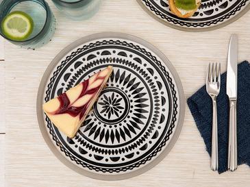 Lidya Cam Pasta Tabağı 21 Cm Siyah - Beyaz