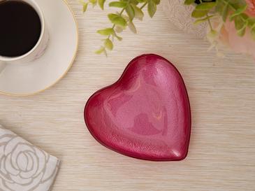 Heart Cam Pasta Tabağı 14 Cm Kırmızı