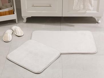 Flo Sıcak Baskı Kaydırmaz Taban Banyo Paspası Seti 50x80 - 45x50 Cm Gri