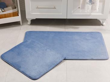 Flo Sıcak Baskı Kaydırmaz Taban Banyo Paspası Seti 60x100 Cm + 60x50 Cm İndigo