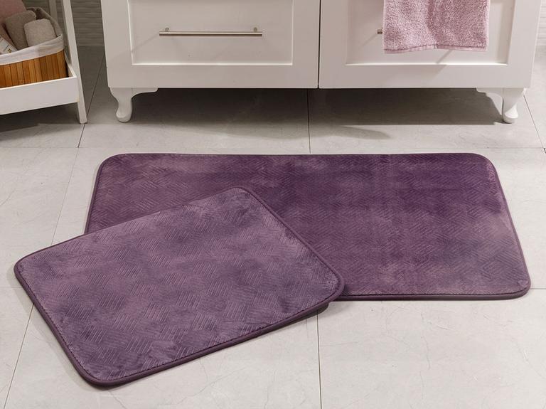 Flo Sıcak Baskı Kaydırmaz Taban Banyo Paspası Seti 60x100 Cm + 60x50 Cm Mürdüm
