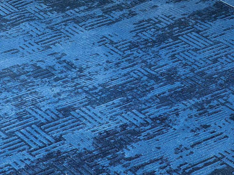 Velvet Modern Kadife Halı 80x140 Cm İndigo