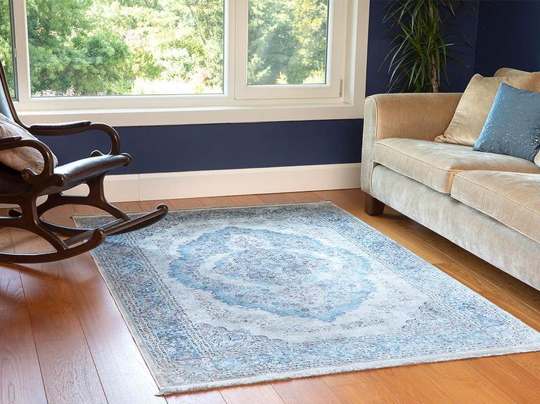 Silk Touch Rena Kadife Halı 200x290 Mavi