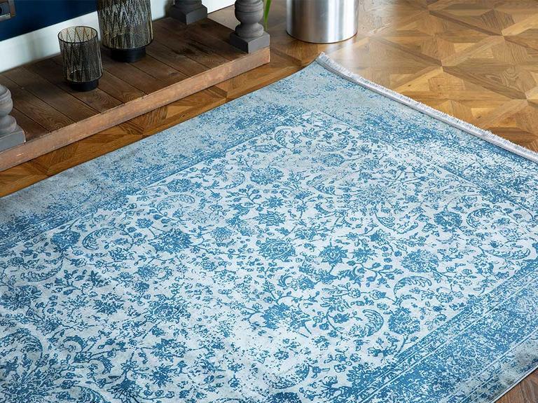Elves Kadife Halı 120X180 Cm Mavi - Gri
