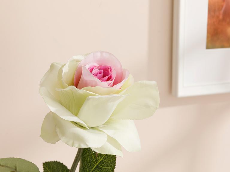 Rose Single Yapay Çiçek 56 Cm Pembe - Yeşil
