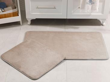 Flo Sıcak Baskı Kaydırmaz Taban Banyo Paspası Seti 60x100 Cm + 60x50 Cm Taş Rengi