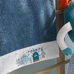 Happy Robots Pamuklu Bebek Banyo Havlusu 70x130 Cm İndigo