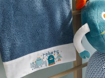 Happy Robots Pamuklu Bebe Banyo Havlusu 70x130 Cm İndigo
