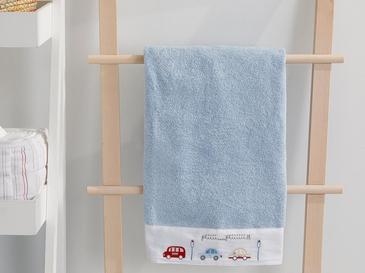 Mini Cars Pamuklu Bebe Banyo Havlusu 70x130 Cm Mavi
