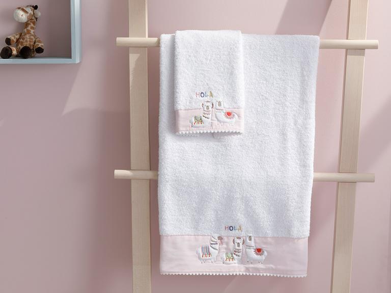 Lama Pamuklu Bebek Banyo Havlusu 70x130 Cm Beyaz