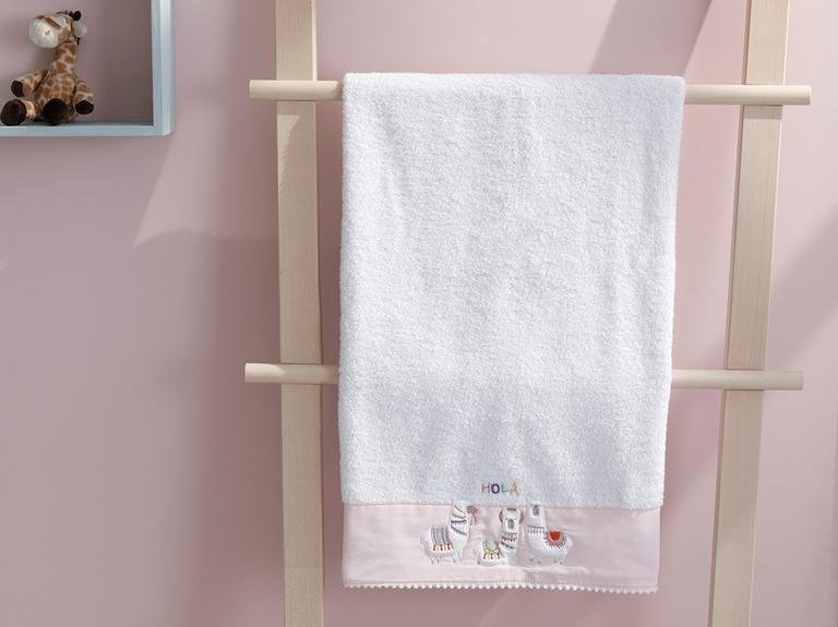 Lama Pamuklu Bebe Banyo Havlusu 70x130 Cm Beyaz
