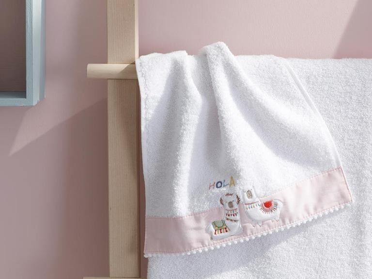 Lama Pamuklu Bebek El Havlusu 30x40 Cm Beyaz