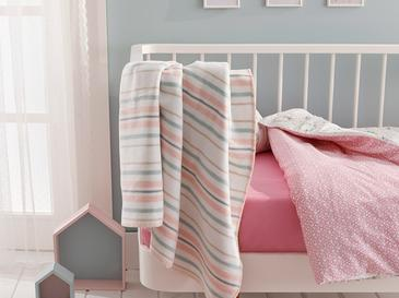Softy Stripe Pamuklu Bebe Battaniye 100x120 Cm Pembe