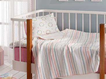 Softy Stripe Pamuklu Bebek Battaniye 100x120 Cm Pembe