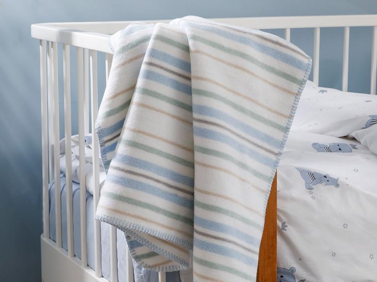 Softy Stripe Pamuklu Pamuklu Bebe Battaniye 100x120 Cm Mavi
