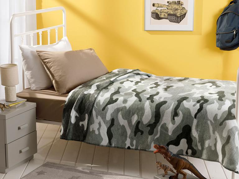 Kamuflaj Pamuklu Tek Kişilik Çocuk Battaniye 150x200 Cm Yeşil