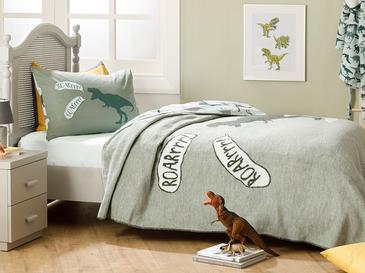 Dinosaur Pamuklu Tek Kişilik Çocuk Battaniye 150x200 Cm Yeşil