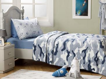 Kamuflaj Pamuklu Tek Kişilik Çocuk Battaniye 150x200 Cm Mavi
