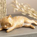 Side Looking Cat Polyresin Biblo 20x8,5x6,7 Cm Gold