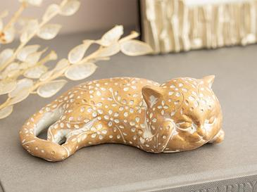 Left Looking Cat Polyresin Biblo 14x8x4,8 Cm Gold