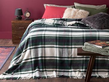 Mackenzie Simli Pamuklu Çift Kişilik Battaniye 200x220 Cm Yeşil