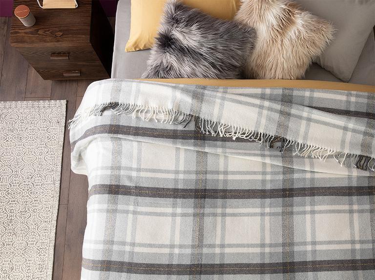 Halden Simli Pamuklu Tek Kişilik Battaniye 150x200 Cm Gri