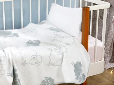 Little Lamb Pamuklu Bebe Battaniye 100x120 Cm Gri