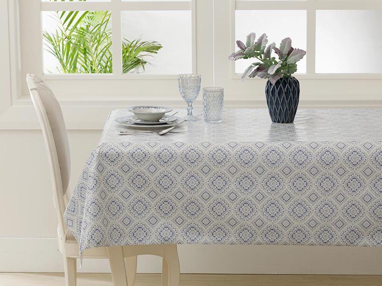 Alissa Pvc Masa Örtüsü 140x140 Cm Beyaz - Mavi