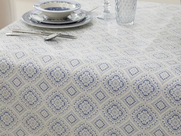 Alissa Pvc Masa Örtüsü 100x140 Cm Beyaz - Mavi