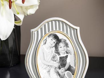 Royal Stripe Polyresin Çerçeve 16x21 Cm Gümüş