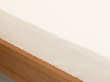 Düz 2 Pamuklu Çift Kişilik Lastikli Çarşaf 160X200 Cm Kırık Beyaz