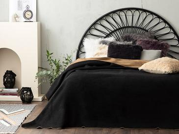 Plain Pamuklu Çift Kişilik Battaniye 200x220 Cm Siyah-bej
