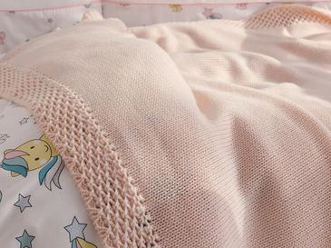Bordure Tek Kişilik Bebek Battaniye 80x120 Cm Pembe