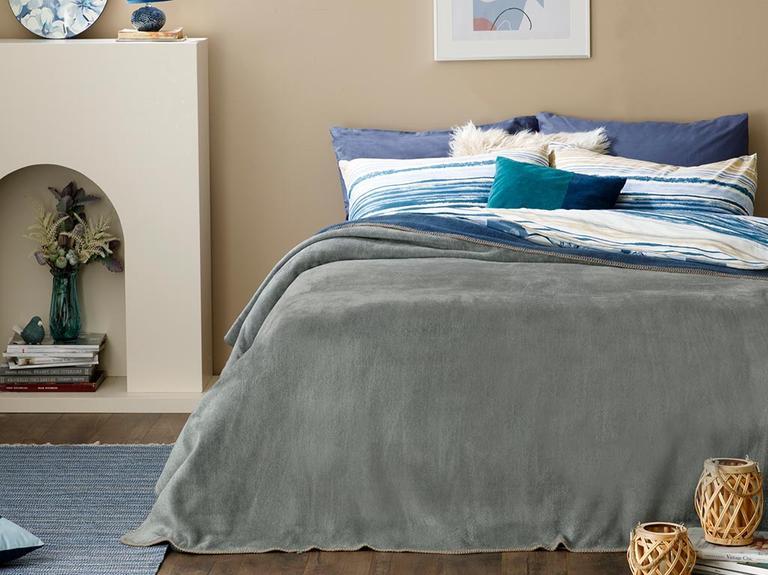 Plain Pamuklu Tek Kişilik Battaniye 150x200 Cm Gri - Lacivert